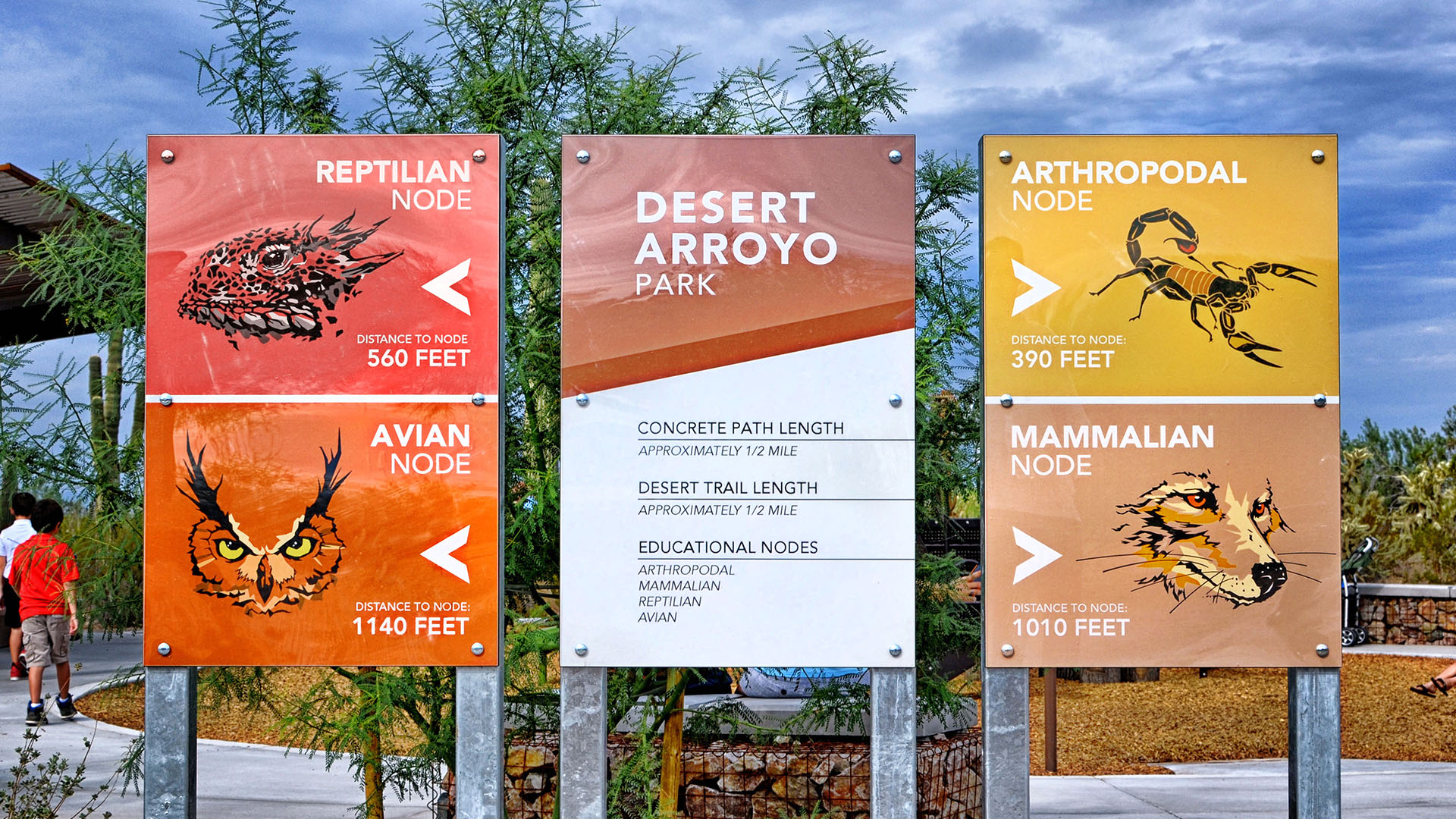 Colorful wayfinding signage directs visitors