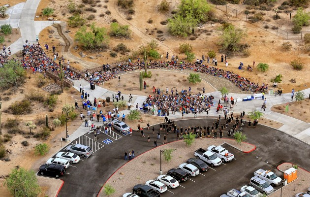 Bird's-eye view of opening day crowds at Desert Arroyo Park