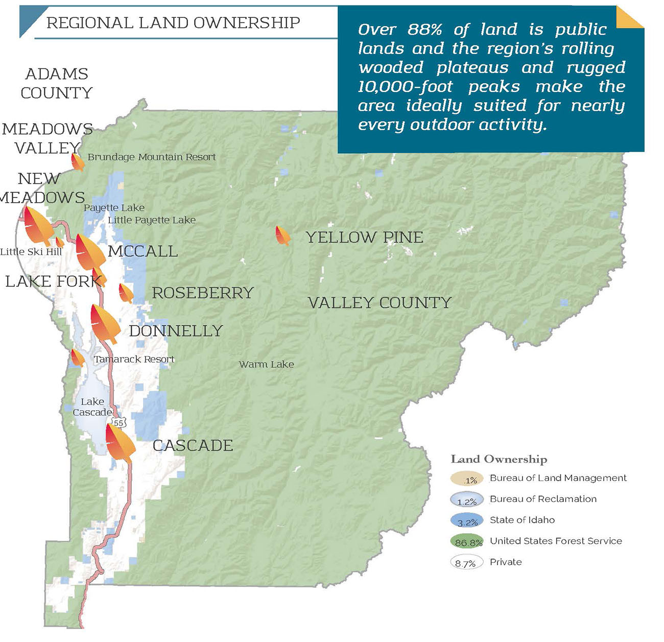 Map of West Central Mountains Region land ownership