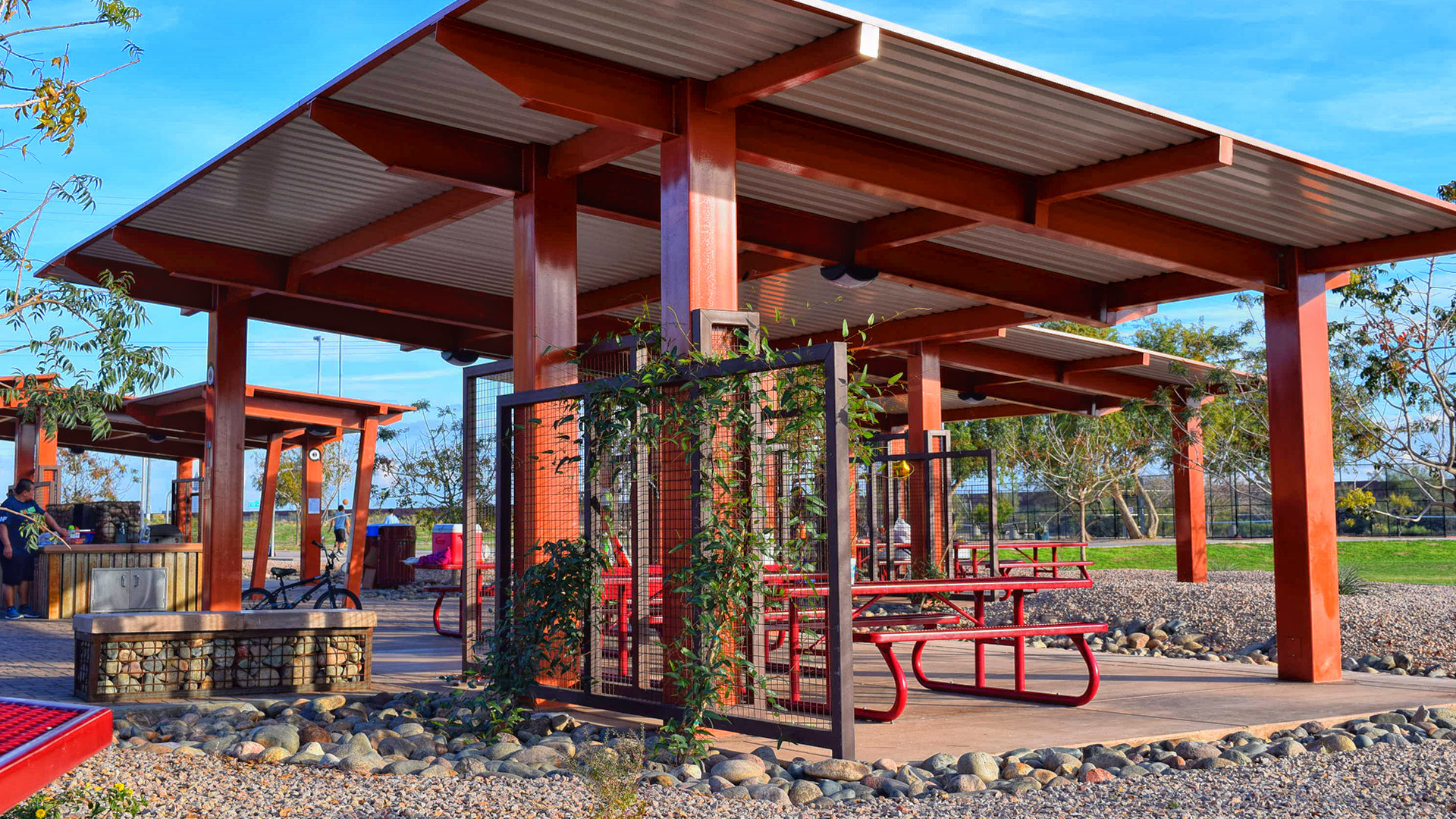 Ramada with picnic table and vegetative screen