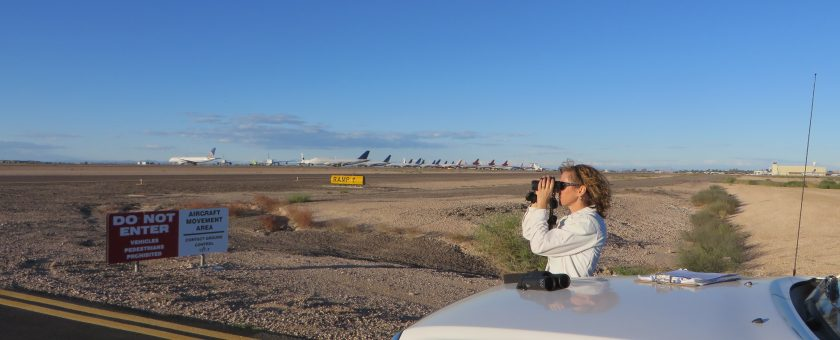 Kay Nicholson conducting a bird point count survey at the Phoenix Goodyear Airport.